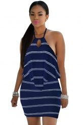 Layered Ruffle Striped Navy Halter Mini Dress