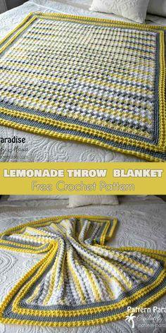 Lemoniade Throw Blanket Free Crochet Pattern #freecrochetpatterns #crochetblanket