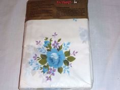 Pr NOS Vintage Mid Century Pillowcases St Marys Blue Lilac Roses Flowers NEW