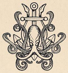 Release the Kraken Embroidered Canvas Messenger Bag – Octopus Tattoo Octopus Tattoo Design, Octopus Tattoos, Octopus Art, Tattoo Designs, Octopus Drawing, Octopus Squid, Kraken Tattoo, Squid Tattoo, Nautical Design