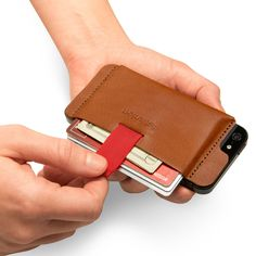 Wally the stick-on leather iPhone wallet with pull-tab
