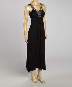 Black Beaded Sleeveless Maxi Dress by opal