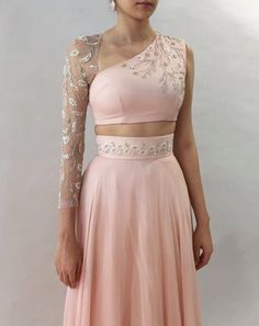 Blush lehenga with one-sleeve floral embroidered blouse ~ Winter Wonderland ~ Shop now Indian Designer Outfits, Designer Dresses, Lehnga Dress, Gown, Stylish Blouse Design, Designer Blouse Patterns, Blouse Neck Designs, Estilo Retro, Lehenga Designs
