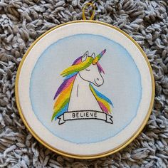 Another embroidery available in the store. Colorful Unicorn! https://www.etsy.com/shop/AmaoCrafts  #handmade #embroidery #hoopart #walldecore #unicorn