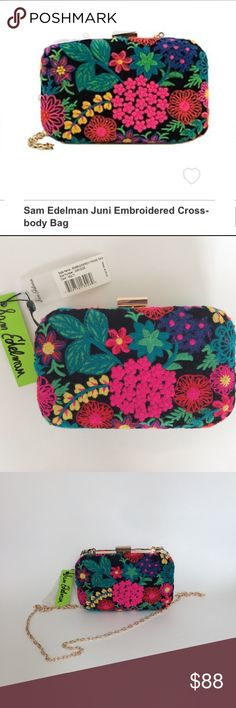 🆕 Sam Edelman Juni Embroidered Cross-body bag Sam Edelman Juni Embroidered cross-body bag. Beautiful bright colors. There are some scratches  where the chain handle meets the top of the bag (see pictures). Have a question leave it in the comments. Sam Edelman Bags Crossbody Bags