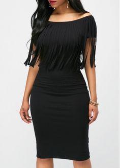Black Tassel Embellished Boat Neck Dress, free shipping worldwide at www.rosewe.com.