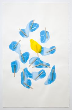 "(summer is coming!!) Popsicles. 2010 Gloss medium, popsicle sticks, india ink on paper 26"" x 40"""