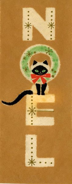 "Vintage ""Noel"" Christmas card with Siamese cat. Noel Christmas, Merry Little Christmas, Retro Christmas, Christmas Greetings, Christmas Crafts, Xmas, Cat Christmas Cards, Christmas Kitty, Christmas Artwork"