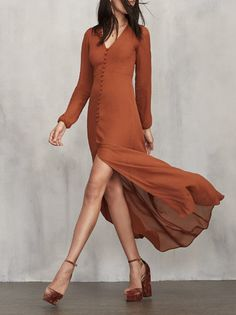 You probably need a few long sleeve dresses to ease you into fall. The Camelia Dress is a lovely lady you can bring out for pretty much any occasion. https://www.thereformation.com/products/camelia-dress-cognac?utm_source=pinterest&utm_medium=organic&utm_campaign=PinterestOwnedPins