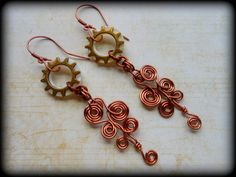 Sun and Cloud Earrings,Art Deco Dangle,Boho,Long Bohemian,,Antique Copper Wire Work,Coils,Artistic,Artisan,Made In USA,OOAK,Statement on Etsy, $38.89