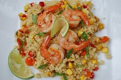 Ginger Lime Shrimp Quinoa. Surprised me - this dish very tasty and will be on the table again soon. I like the nutty quality of quinoa, another surprise.