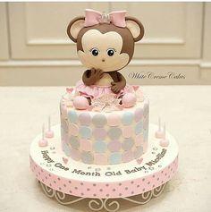 Birthday Cake Girls One Fondant Super Ideas Monkey Birthday Cakes, Birthday Cake Girls, First Birthday Cakes, Unique Baby Shower Cakes, Torta Baby Shower, Baby Cakes, Safari Cakes, Cake Topper Tutorial, Cake Creations