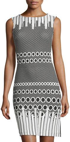 Julia Jordan Rio Dot-Pattern Sleeveless Dress, Black/White