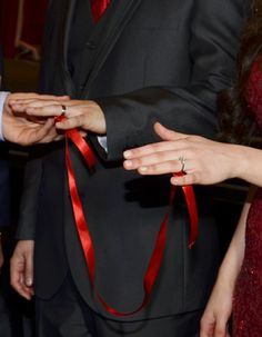Rings on with a red-ribbon attachment. Solitaire princess cut for her and diamond cut ring for him Engagement Party Planning, Wedding Engagement, Engagement Photos, Wedding Dinner, Dream Wedding, Afghan Wedding Dress, Turkish Wedding, Cute Muslim Couples, Beautiful Birthday Cakes