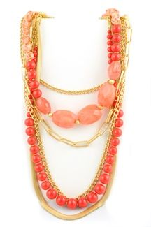 Coral Multi Strand Necklace....cute necklaces on this site!