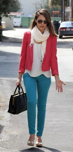 Love the coral jacket and teal jeans combo.
