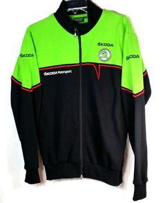 Skoda MotorSport Jacket Size M Black Greene Embroidered Logo Zip Front Auto Fans #SKODA #BasicJacket