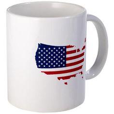 Flag Map of the USA Mug