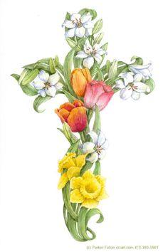 Daffodil & Tulip Cross by Parker Fulton