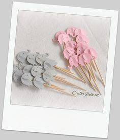 24 Grey and Light  Pink Elephants Party Picks ,Cupcake Toppers , Toothpicks , Food Picks, die cut. $3.50, via Etsy.