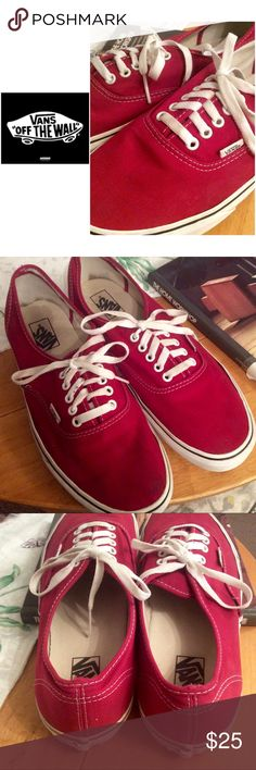 🚘. Maroon VANS men's 12 These handsome sneakers are really clean, with a bright maroon color. They are either then Anaheim or Classic. Some dirt staining the soles, and a stain on the laces. Make me an offer! Vans Shoes Sneakers
