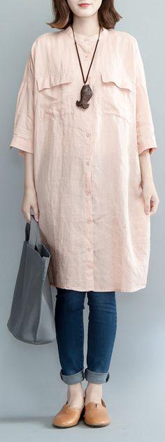 boutique pink linen knee dress #linendress#boutique#linen#omychic
