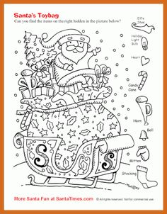 45 Engaging Hidden Pictures | KittyBabyLove.com Noel Christmas, Christmas Colors, Christmas Crafts, Father Christmas, Colouring Pages, Adult Coloring Pages, Coloring Books, Coloring Sheets, Santa Pictures