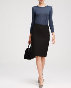"Cut to fit. Styled to flatter. Designed to be worn any time of year, this pencil skirt is made with our endlessly flattering all-season stretch fabric. Hidden side zipper with hook-and-eye closure. Back vents. Lined. 24 1/2"" from top edge."