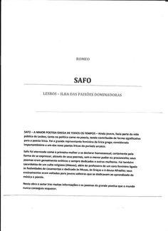 MULHERES DE LINGERIE : NOVO LIVRO DO ROMEO - SAFO - A MAIOR POETISA GREGA