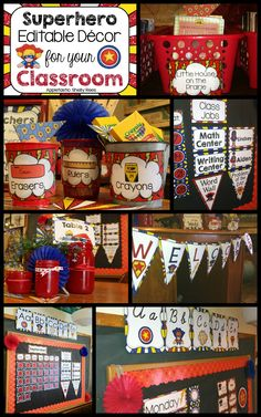 Classroom Decorations Superhero Classroom Decor - Look at this fun, colorful classroom! My students would love this.Editable, too!Superhero Classroom Decor - Look at this fun, colorful classroom! My students would love this.Editable, too! 2nd Grade Classroom, New Classroom, Classroom Setting, Kindergarten Classroom, Preschool Classroom Themes, Classroom Ideas, Classroom Organization, Classroom Design, Classroom Inspiration