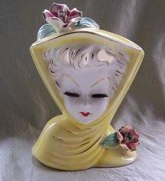 Vintage Lefton Lady Head Planter Vase Japan Wall Pocket Ceramic June Eyelashes | eBay