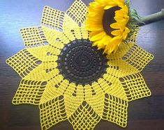 Sunflower doily/Yellow doily/crochet doily by BusyCraftyMumSunflower hand made doily/Yellow doily/crochet doily/placemat/hand crochet lace yellow doily/yellow handmade/spring summer doily/table cloth Crochet Doily Patterns, Crochet Diagram, Thread Crochet, Crochet Motif, Crochet Doilies, Crochet Flowers, Hand Crochet, Crochet Stitches, Crochet Symbols