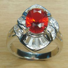 Massjewelry - Oval Cut Ruby Red and White CZ 925 Sterling Silver Rhodium Cocktail Ring