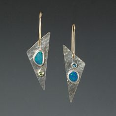 opal doublet earrings with peridot & blue topaz, in sterling silver with 14kt ear wires