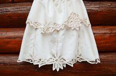 Upcycled Battenburg Lace Skirt Women's Clothing Summer Boho One of A Kind Off White Eco Friendly Cotton Mori Girl Shabby Chic Medium on Etsy, $54.00