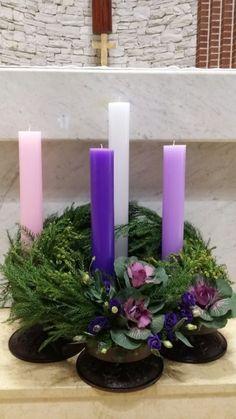 대림시기 : 네이버 블로그 Church Flowers, Boquet, Holy Week, Floral Arrangements, Projects To Try, Easter, Candles, Catholic, Blog