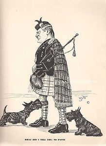 Dog Print 1941 Scottish Terrier Dogs look up Kilt Bagpipe VINTAGE SCARCE