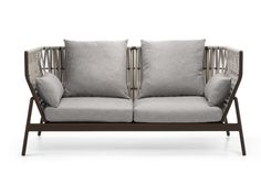 2 seater high-back technical fabric and alluminium sofa PIPER | 2 seater garden sofa by RODA