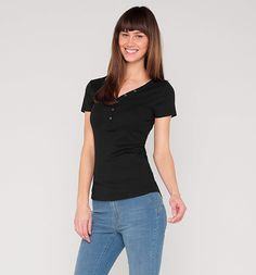 Damen Basic-Henley--Shirt in schwarz