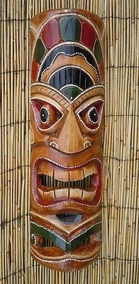 This Painted Dot Tiki Mask is hand carved and hand painted with great detail from a solid piece of wood. Totem Pole Art, Tiki Totem, Totem Poles, Totems, Tiki Faces, Survivor Party, Tiki Head, Tiki Bar Decor, Polynesian Art