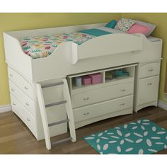 Imagine Kids Loft Bed 3576 by South Shore | Single Twin Wooden Kids Loft Bed Bedroom Furniture