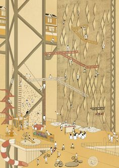 the attraction of risk, the climbing wall architecture, drawing