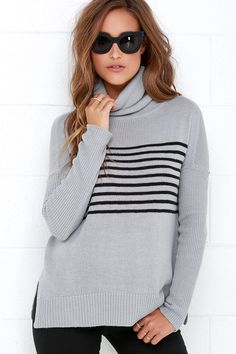 BB Dakota Carver Blue Grey Striped Sweaterat Lulus.com!