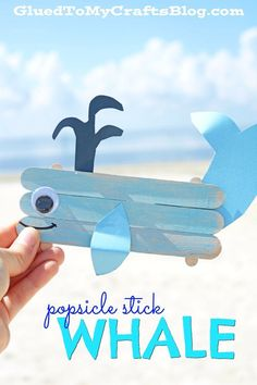 Popsicle Stick Whale - Kid Craft Using easy-to-find wooden popsicle sticks, craft paint and colored cardstock - you too can make this beach-friendly whale creature come to life today! Whale Crafts, Ocean Crafts, Fish Crafts, Rainbow Crafts, Beach Themed Crafts, Dinosaur Crafts, Popsicle Stick Crafts For Kids, Popsicle Sticks, Craft Stick Crafts