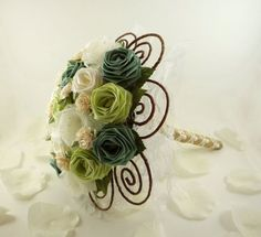 Green Fields Wedding Bouquet Origami Bridal by TheWhiteBouquet