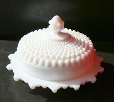 White Hobnail Dishes | Antique White Milk Glass Hobnail Covered Butter Cheese Dish Unique 5 ...