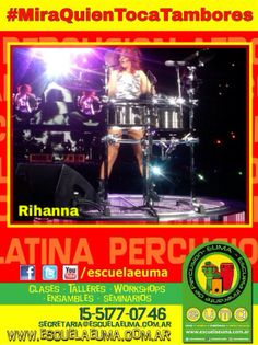 BUENOS DIAS! Hoy es martes de #MiraQuienTocaTambores/ Compartiremos fotografías de famosos tocando percusión! Si tenés alguna, compartila con nosotros! hoy, Rihanna.