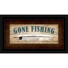Gone Fishing Bright Pole Sign Wood Grain Lake Lodge Painting Brown & Tan, Framed Canvas Art by Pied Piper Creative, Beige