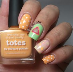 The Clockwise Nail Polish: piCture pOlish Totes & Yes Love Neon Glitter G1-5 & Negative Space Triangle