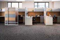 Sliding panel doors for private modular workstations.